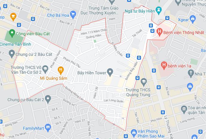 Bản đồ phường 11 quận Tân Bình (ảnh chụp Google Maps tháng 08/2021) - Quy hoạch chi tiết phường 11 - Yeshouse