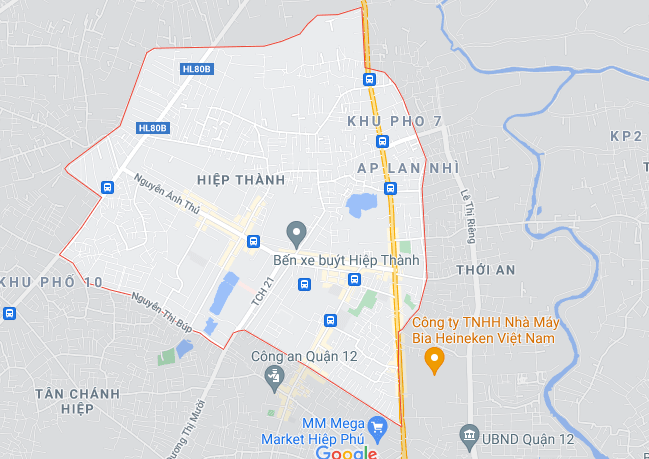 Bản đồ phường Hiệp Thành (ảnh chụp Google Maps) - Yeshouse