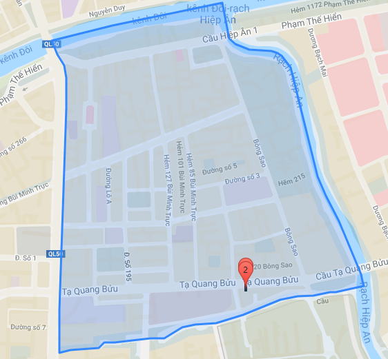 Bản đồ hành chính Khu dân cư Bông Sao quận 8 (ảnh bản quyền Yeshouse).