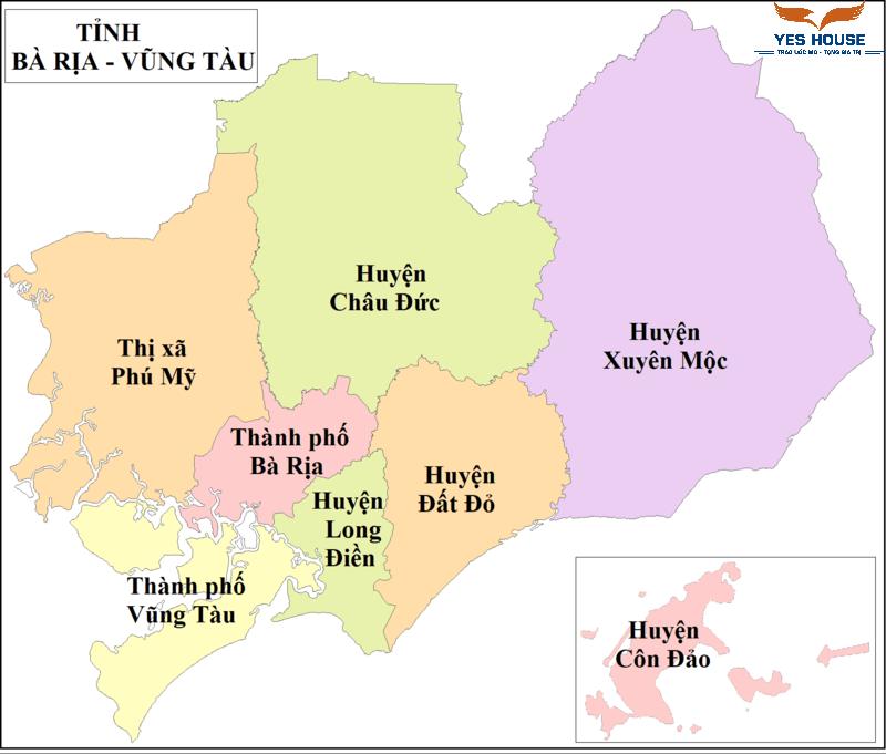 Bản đồ hành chính tỉnh Bà Rịa - Vũng Tàu năm 2021 - Yeshouse