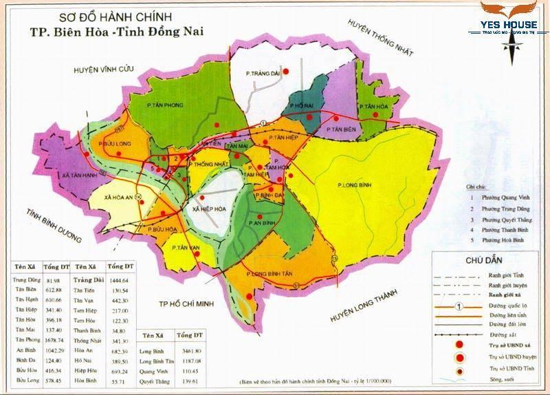 Hình 1. Bản đồ hành chính Thành phố Biên Hòa năm 2021 - Quy hoạch Biên Hòa - Yeshouse