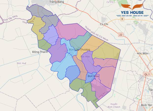 Hình 1. Bản đồ hành chính huyện Đức Hòa - Bản đồ quy hoạch Đức Hòa - Yeshouse