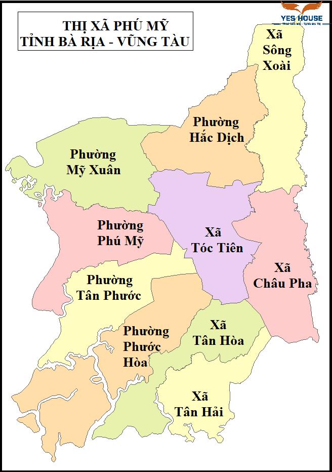 Bản đồ hành chính thị xã Phú Mỹ năm 2021 - Bản đồ quy hoạch Phú Mỹ - Yeshouse