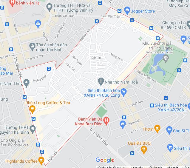 Bản đồ phường 6 quận Tân Bình (ảnh chụp Google Maps năm 2021) - Yeshouse