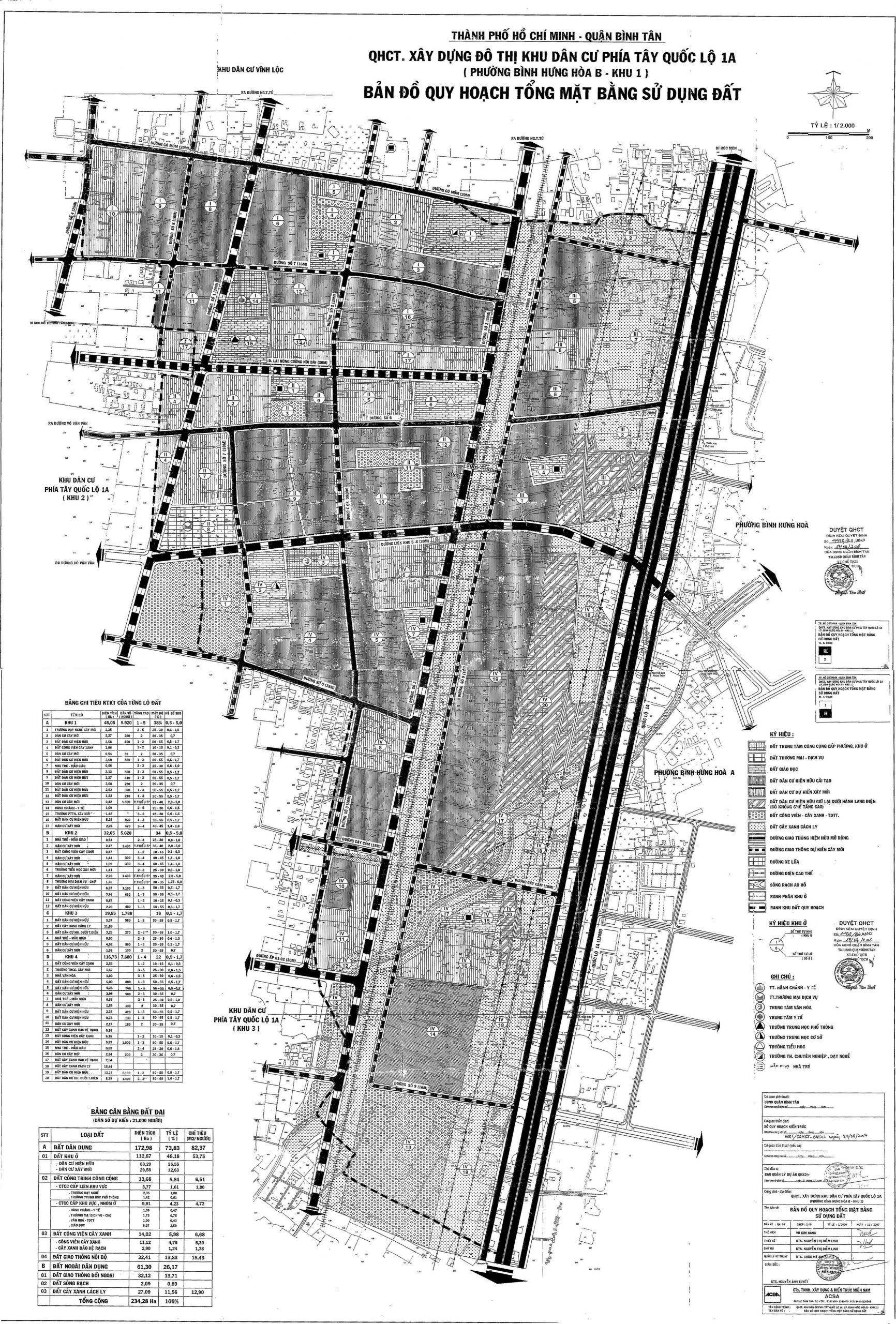 Bản đồ quy hoạch tổng mặt bằng sử dụng đất tại KDC phía Tây QL1A - Yeshouse