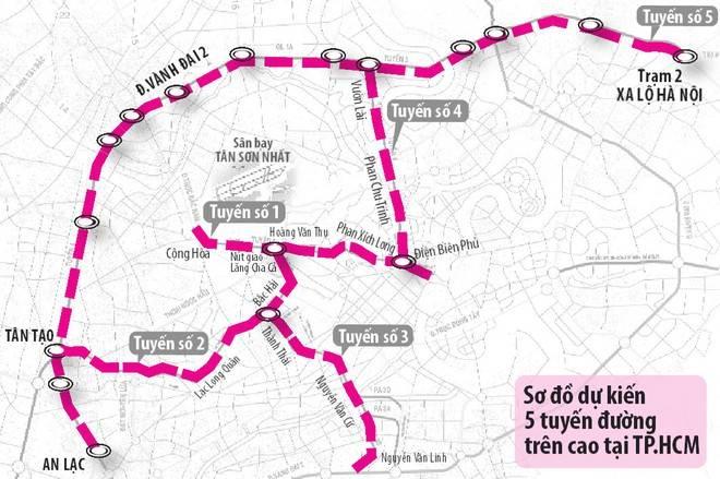TP.HCM sẽ có 5 tuyến đường trên cao với tổng chiều dài 70,7 km - Yeshouse