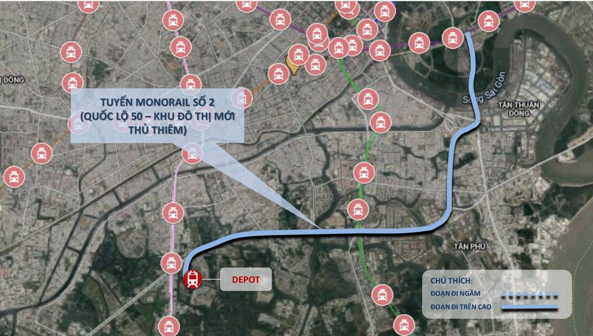 Tổng mức đầu tư của tuyến monorail số 2 là 350 triệu USD (thời điểm lập quy hoạch) - Yeshouse