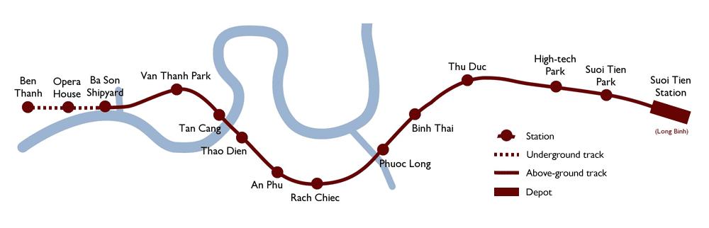 Bản đồ lộ trình tuyến số 1 (Bến Thành - Suối Tiên) - Quy hoạch đường sắt đô thị TP.HCM - Yeshouse