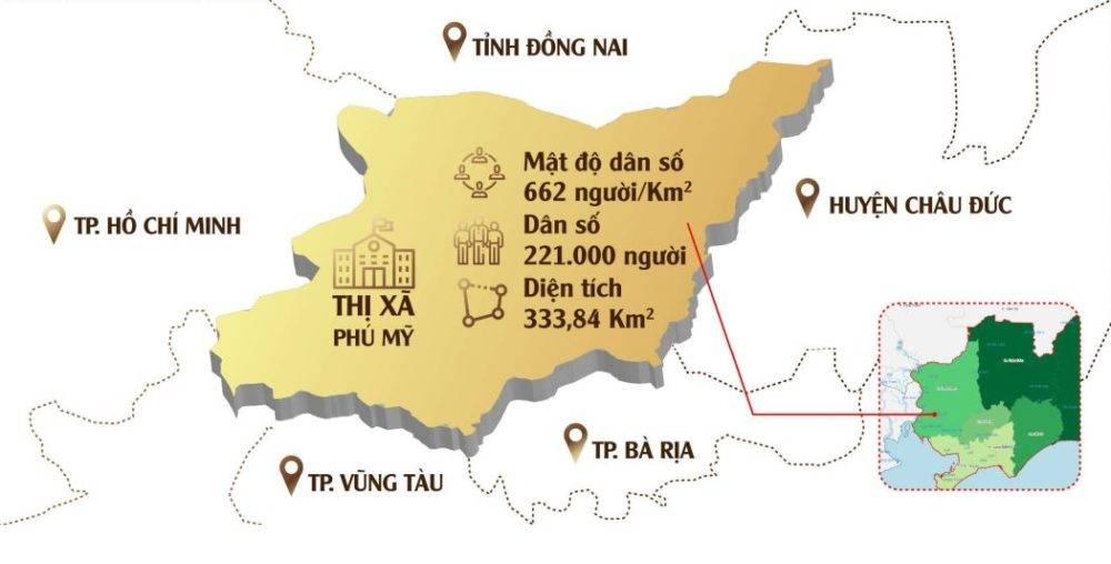 Thị xã Phú Mỹ tiếp giáp nhiều tỉnh thành