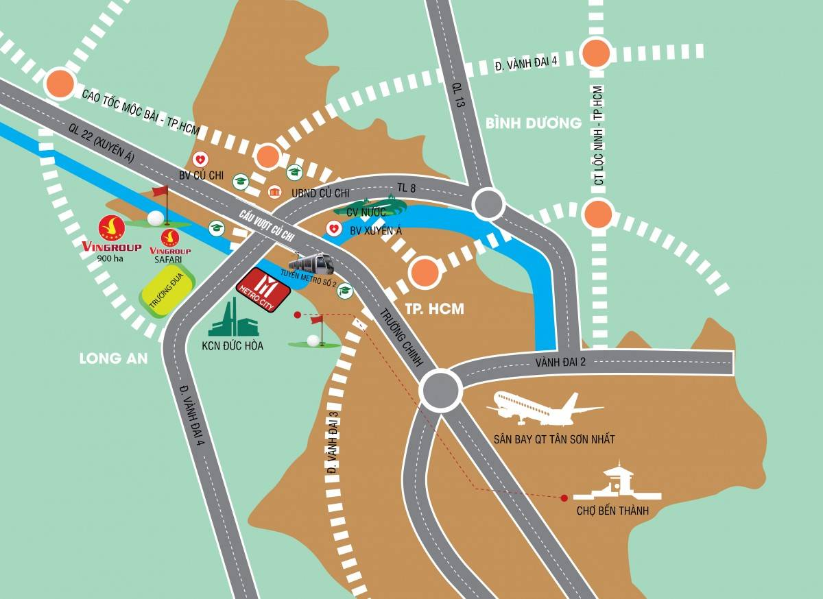 sơ đồ đường đi dự án Metro city